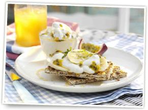 Ryvita Fruit Crunch Crispbread with banana, yoghurt, honey basil and passion fruit.