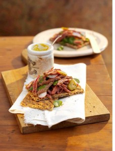 Ryvita Dark Rye Crispbread with salt beef, watercress and dill pickle