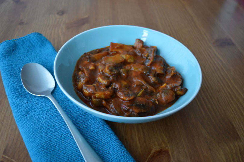 Mushrooms a la grecque is a cold mushroom dish with mushrooms in a spicy tomato sauce