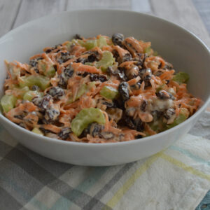 Carrot and raisin salad in a bowl