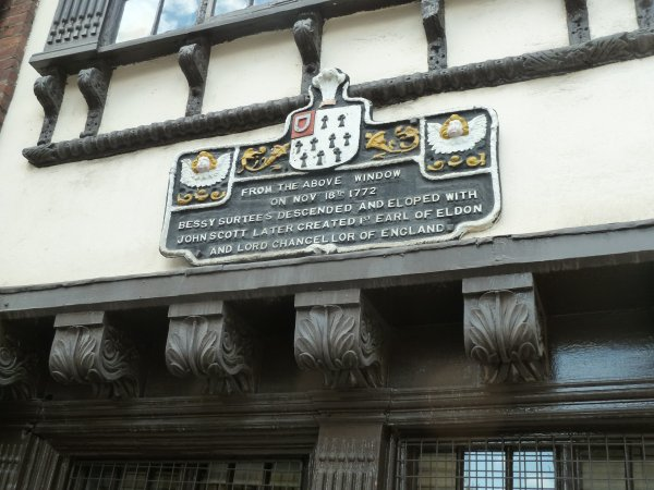 Bessie Surtees House - the plaque on the outside of the building under the window she eloped from