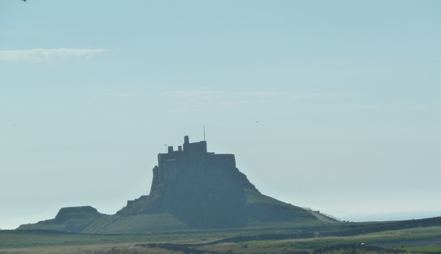 Holy Island castle seen from a distance