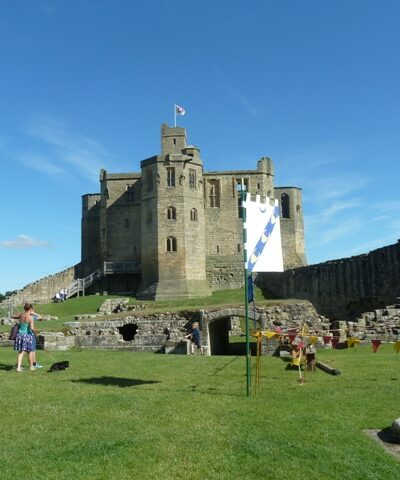 Warkworth castle from a distance