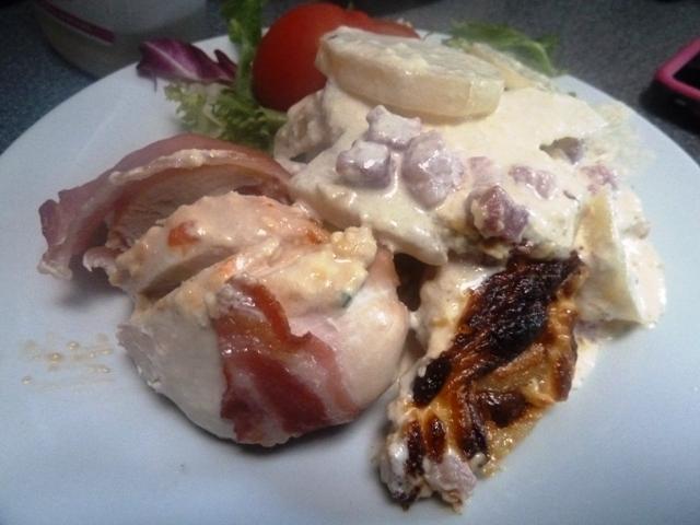 Cheese stuffed chicken with potato gratin