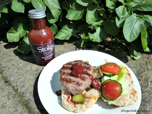 Home made burger with stokes sauces