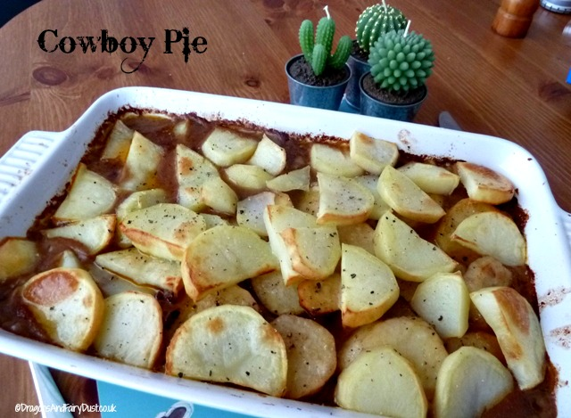 cowboy pie on a plate - a mince and potato dish