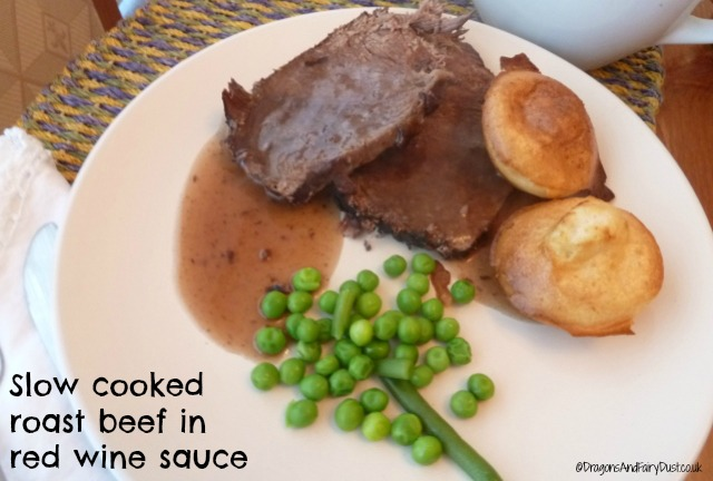 Slow cooked roast beef in red wine sauce
