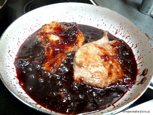 Pork chops in plum sauce