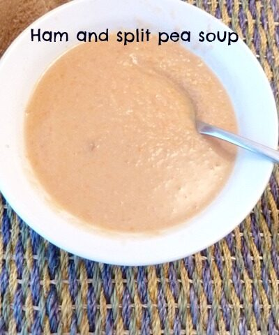 Slow cooked ham and split pea soup