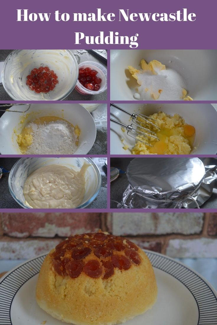 Step by step pictures showing how to make Newcastle pudding