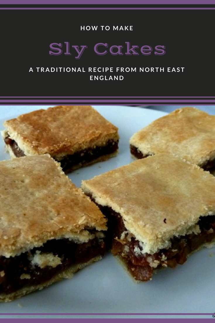 Sly cakes or currant slices. Sweet pastry filled with sweet spiced fruit. A traditional recipe from North East England