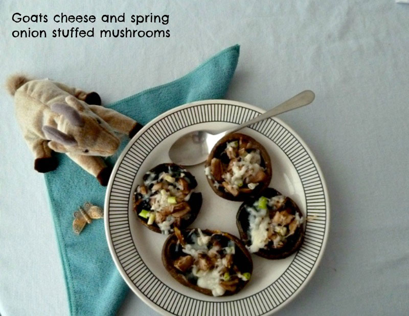 Goats cheese and spring onion stuffed mushrooms