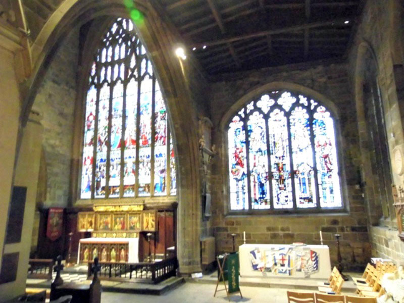 Stained glass windows inside Newcastle cathedral
