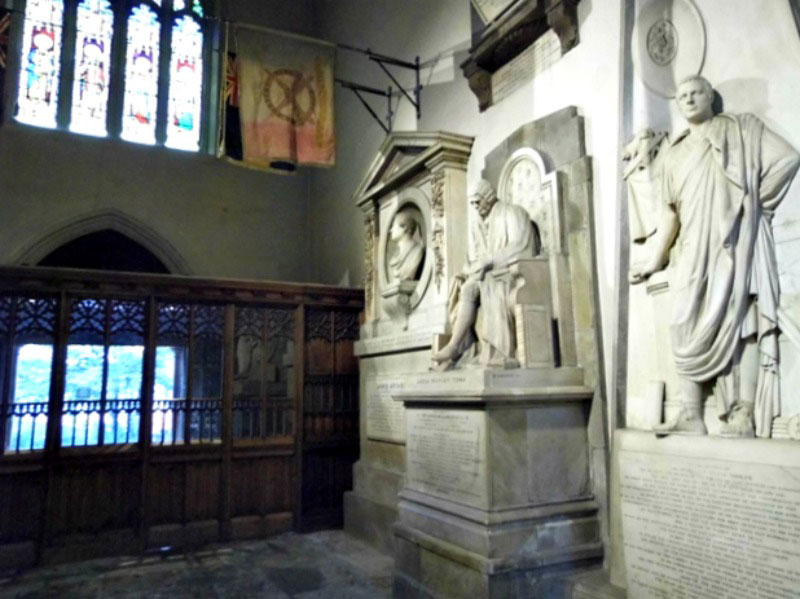 Some of the memorials inside St Nicholas Cathedral Newcaslte