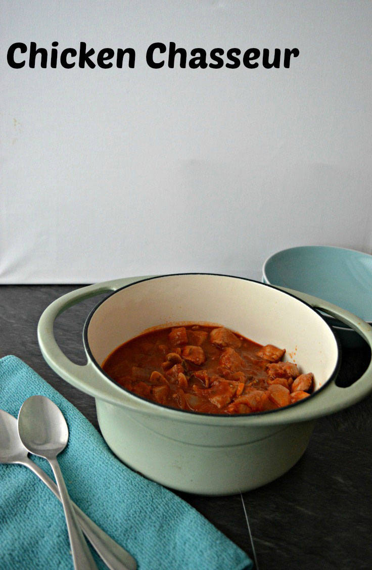 Chicken Chasseur is a french dish, chicken cooked with wine, mushrooms and tomatoes. A classic 1970s recipe