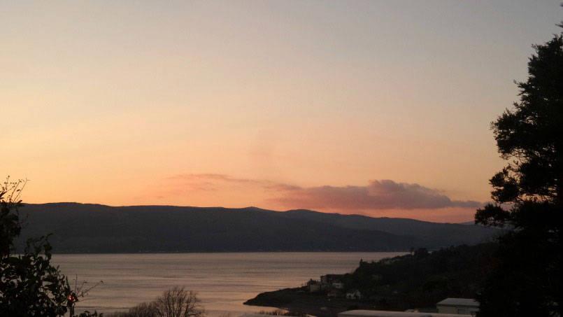 Sunset over park dean wemyss bay