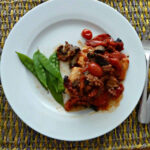 cod with a tomato chorizo and mushroom sauce