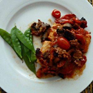Cod with chorizo and tomato