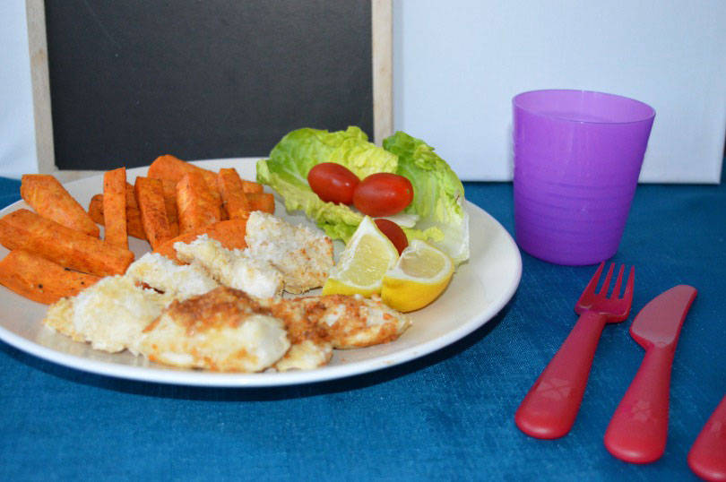 Coconut chicken with sweet potato wedges