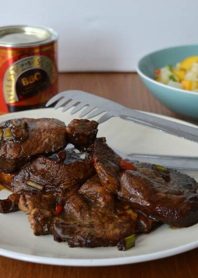Pork juice marinated in lime juice, black treacle and spices