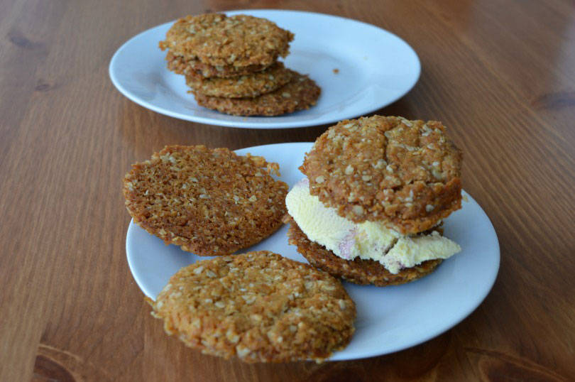 Ice cream sandwiches made using Anzac biscuits