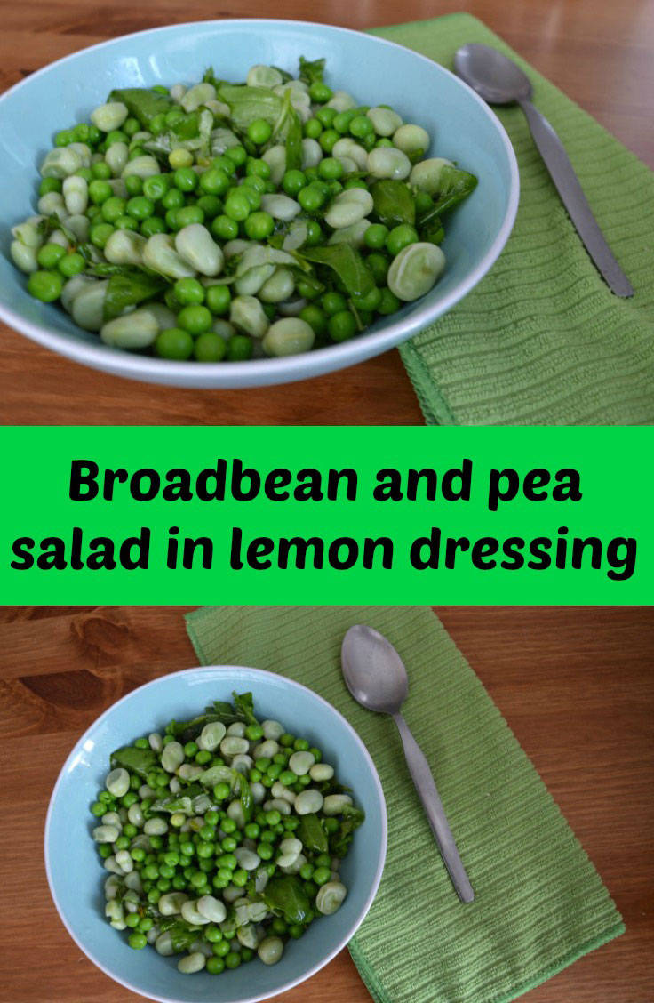 broad bean salad in lemon dressing