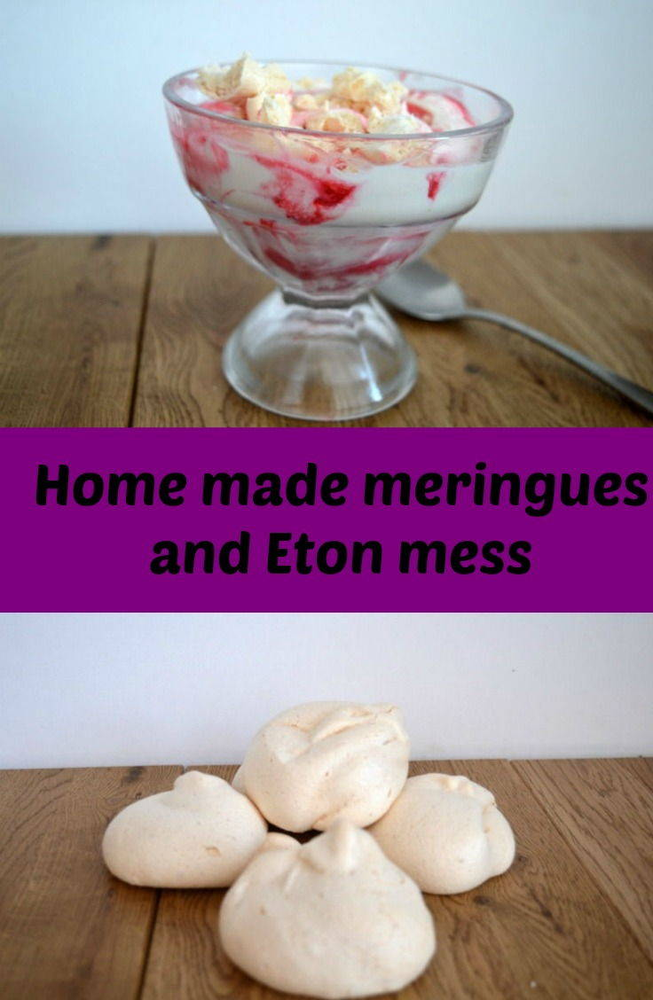 Home made meringues used to make Eton mess with a raspberry sauce
