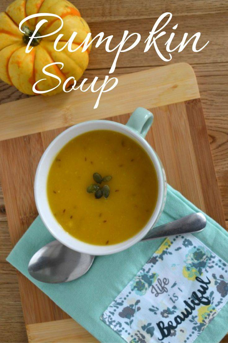 Spicy pumpkin soup. A tasty and delicious low fat pumpkin soup with fennel seeds and tumeric for a gentle background spice. A great way to use up Halloween pumpkin