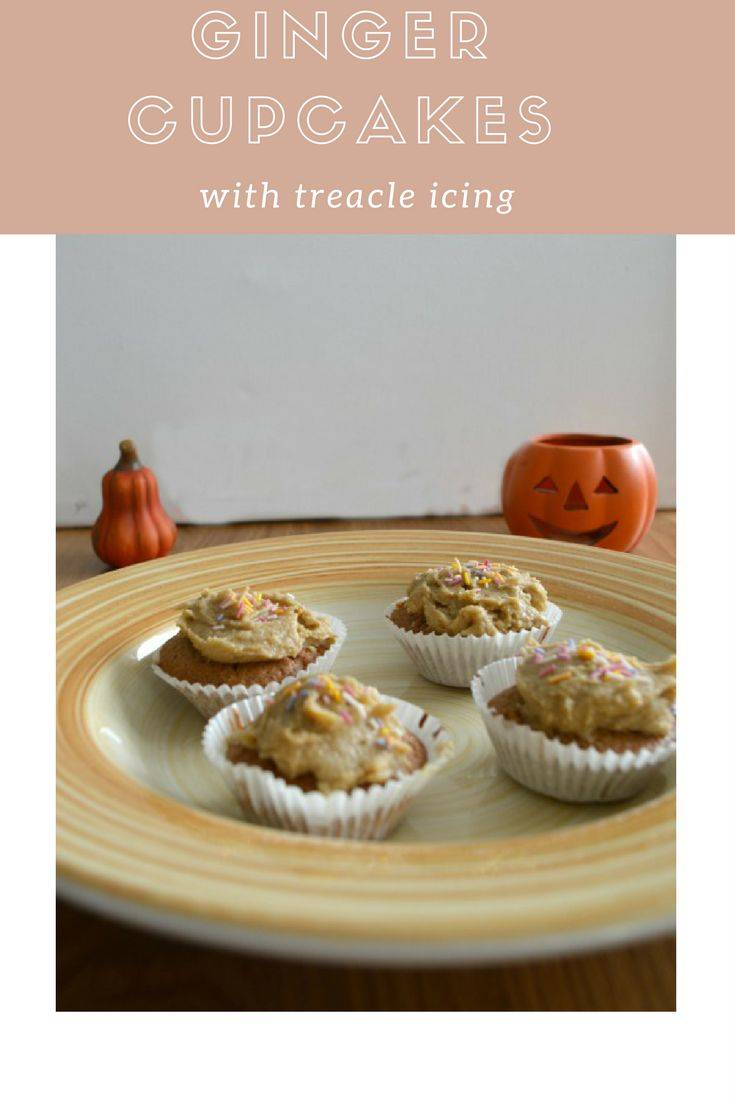 Ginger cupcakes with treacle icing, perfect for Halloween or bonfire night