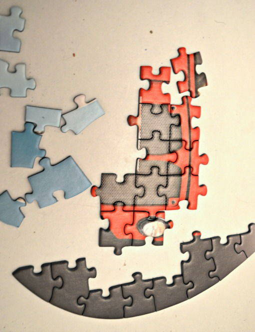 curved pieces of Ravensburger silhoutte puzzle