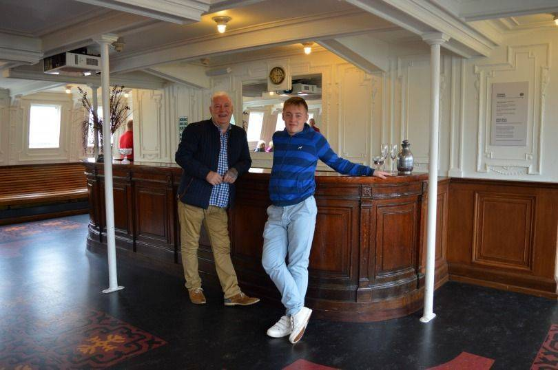 Inside the SS Nomadic, at the bar
