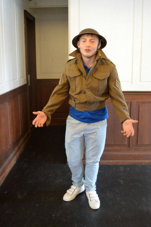 Dressing up as a world war II soldier on the SS Nomadic