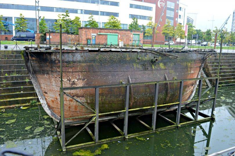 The Caisson Gate floating in Hamilton Dock Belfast