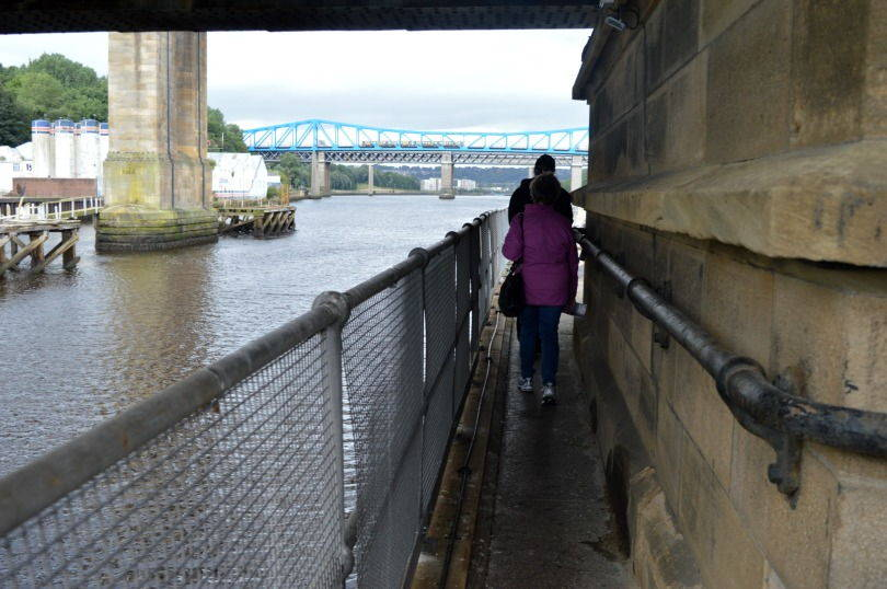 Accessing the engine room of the swing bridge via a wallkway