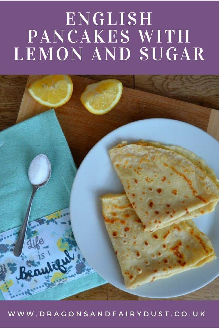 Traditional English pancakes with lemon and sugar. Perfect for pancake day
