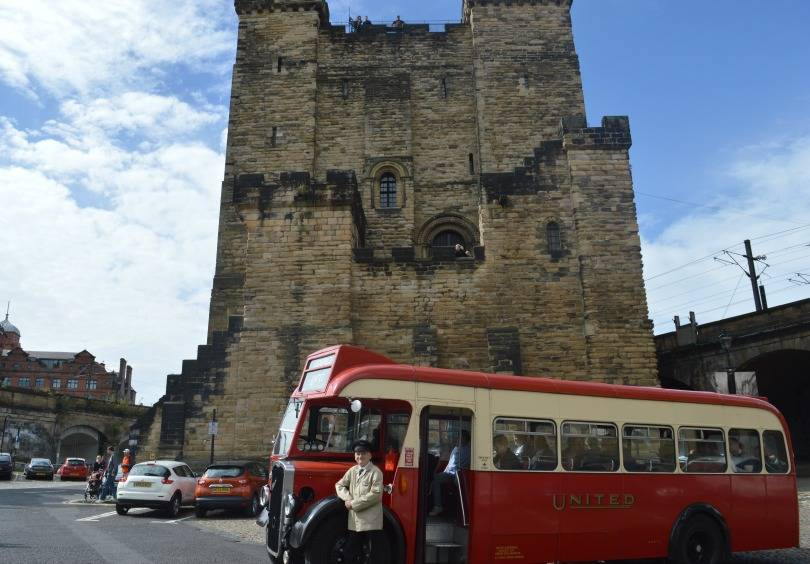 A vintage bus tour of Newcastle - stopped outside the castle keep