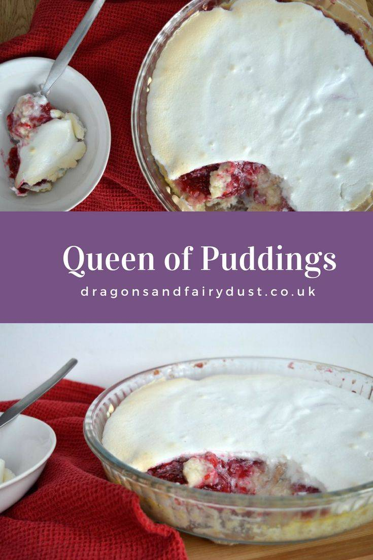 Queen of puddings recipe. A custard base topped with raspberry jam and meringue makes a delicous and tasty dessert