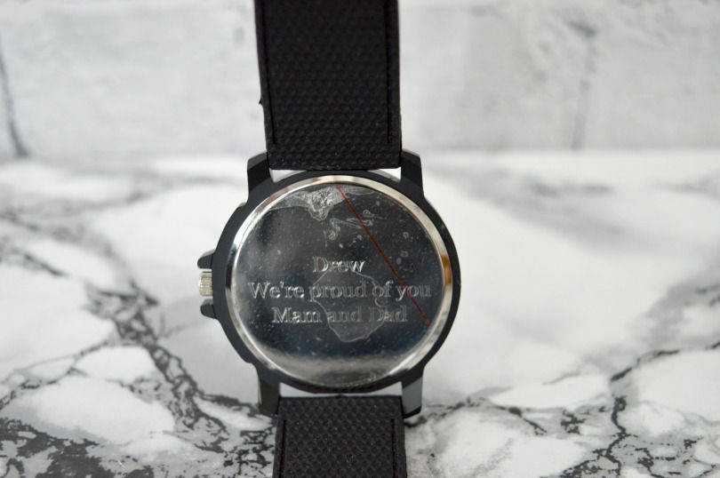 Engraving on the back of the personalised watch