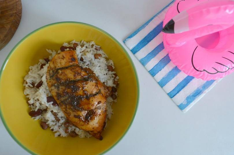 Easy Jamican jerk chicken in a bowl with rice