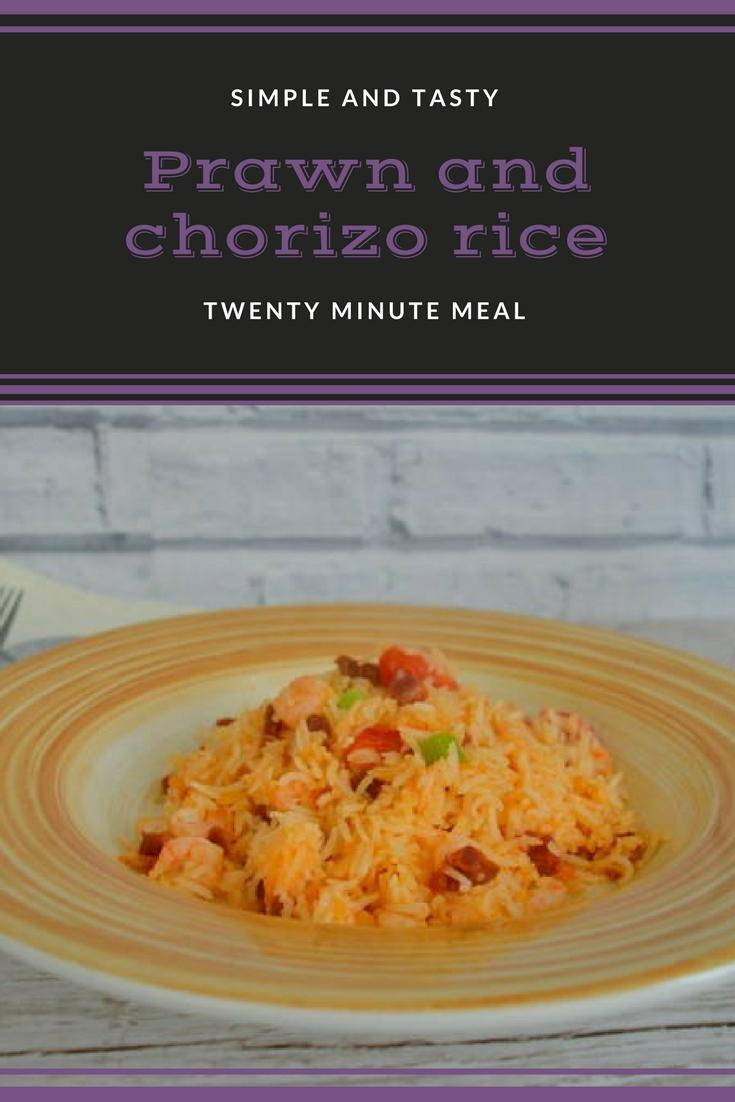 Prawn and chorizo rice. A quick tasty recipe to make for a mid week meal. Ready in twenty minutes. Why not get the recipe?