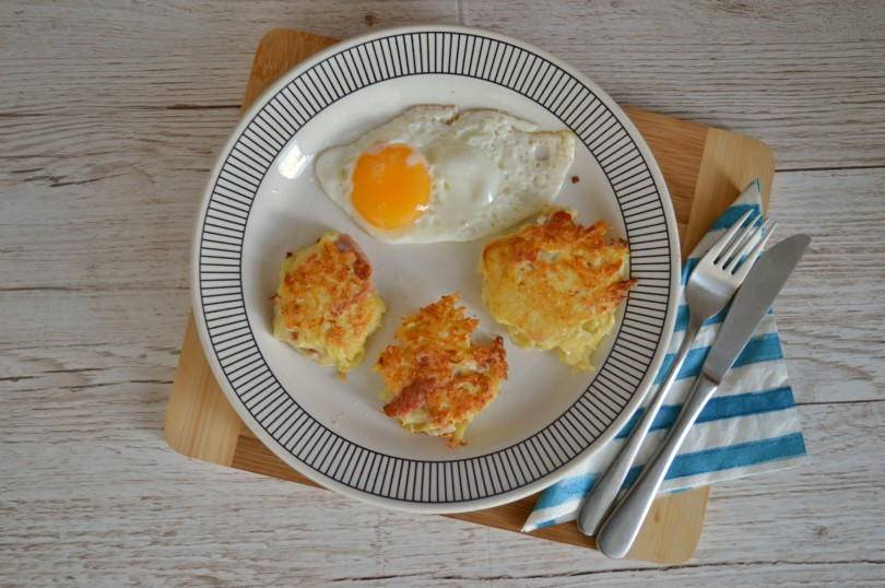 Canal or bacon floddies. A breakfast dish made from grated potato, grated onion and bacon