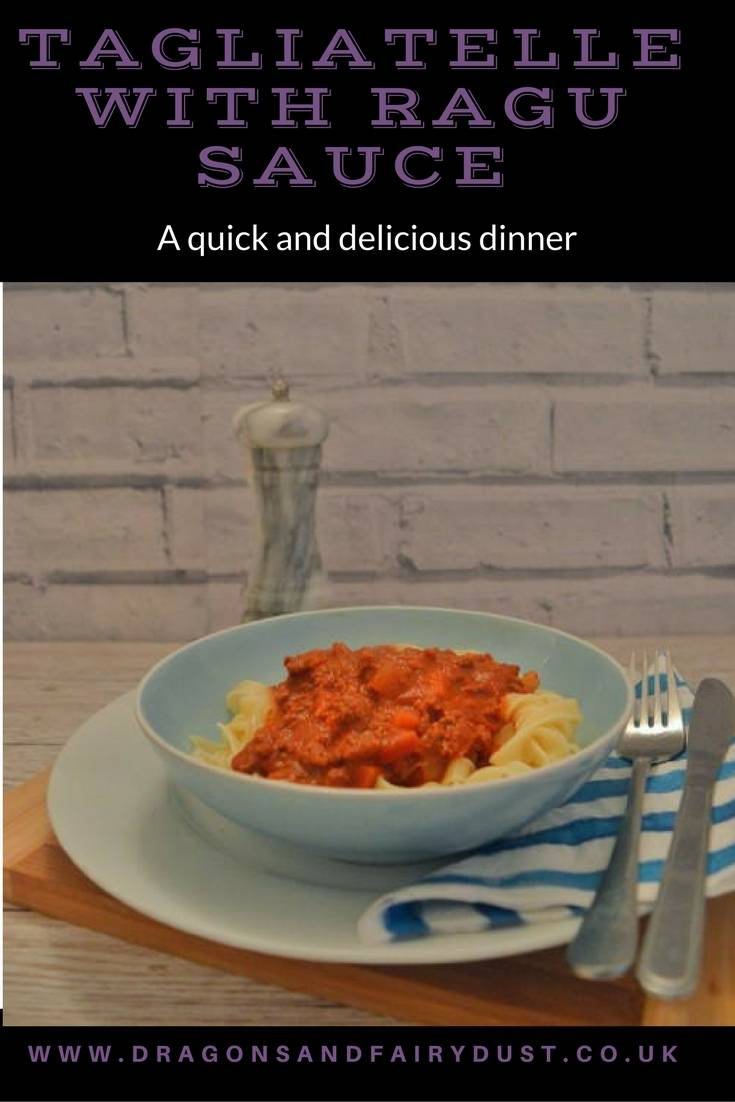 Tagliatelle with ragu sauce. A delicious quick and easy midweek meal