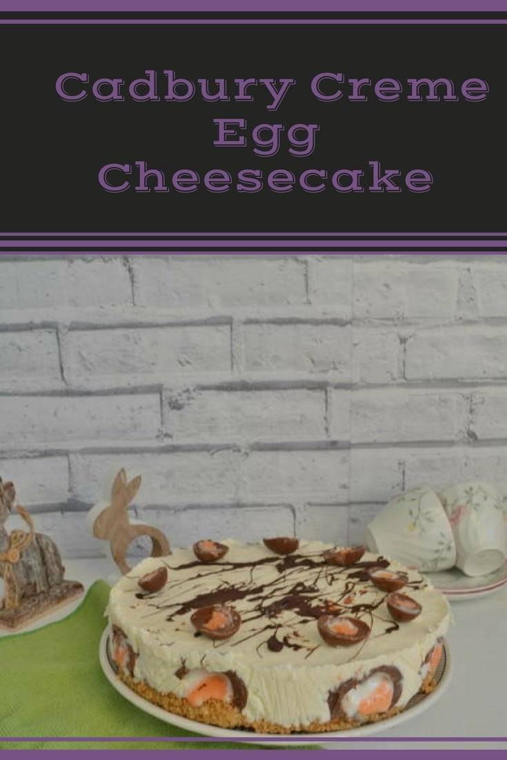 Cadbury creme egg cheesecake. A delicious no bake cheesecake perfect for Easter. Click for the recipe