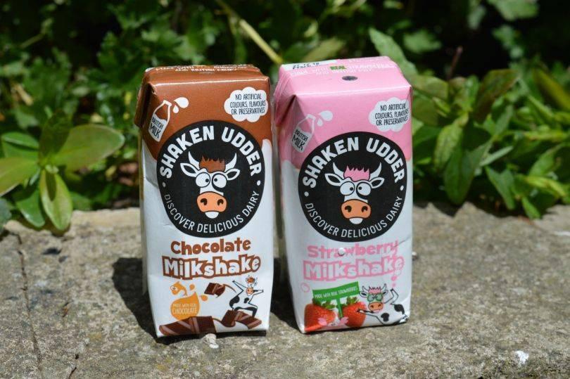 Shaken udder milk shakes in cartons