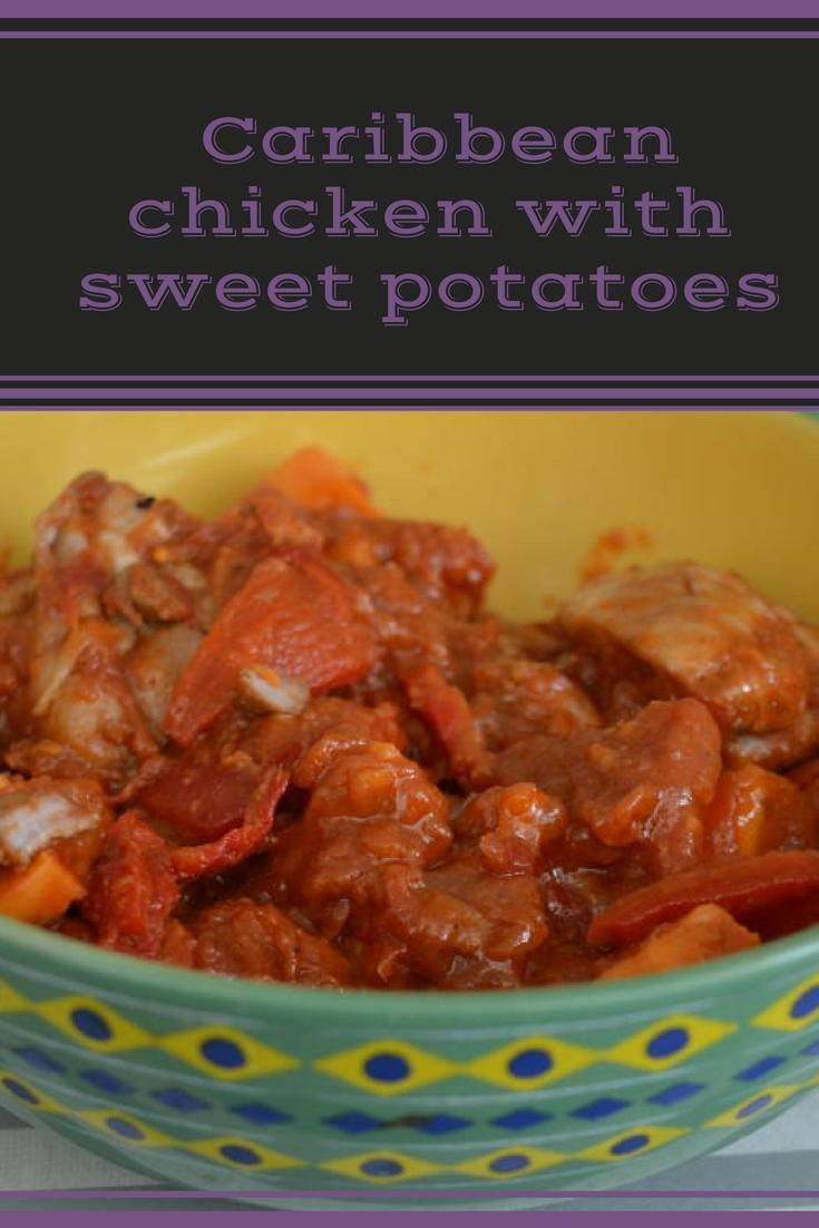Caribbean chicken with sweet potatoes. A simple and delicious budget recipe