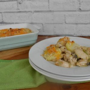 Creamy chicken pie with crispy potato topping