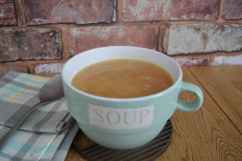 Northumberland ham broth in a soup bowl