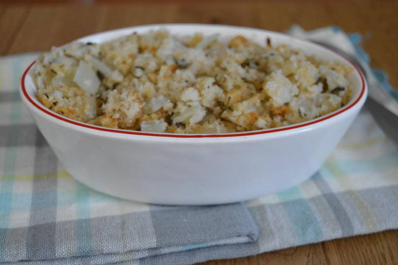 sage and onion stuffing in a bowl