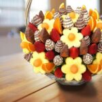 Fruity Gift - a bouquet of fruit and chocolate on a table