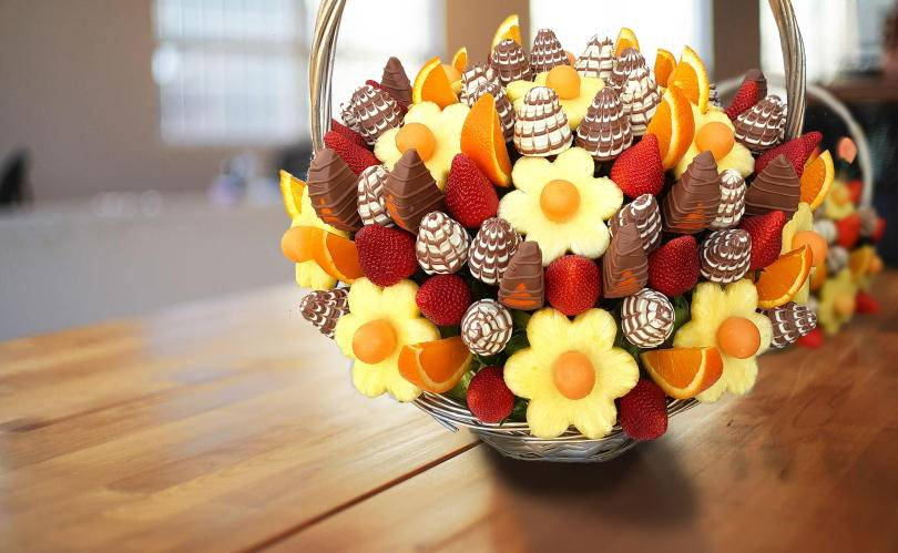 Fruity Gift - an edible flower gift basket on a table